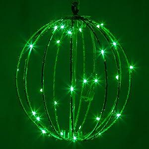 "8"" LED Fairy Light Ball – Indoor/Outdoor Fairy Lights Decoration with Fairy Mini Lights, Sphere Light Fold Flat Metal Frame (Green Lights/Green Frame)"