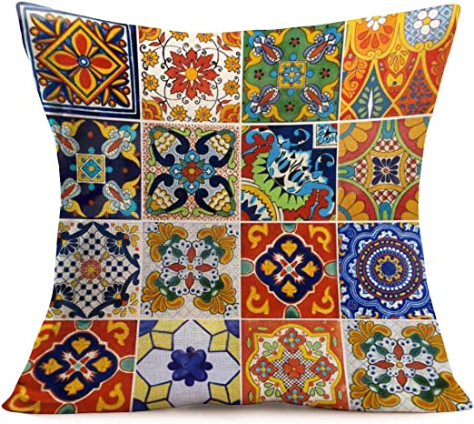 Amazon Com Sharej Throw Pillow Cover Mexican Tiles Flower Blue Pottery Mexico Floral Design Moroccan Cushion Case Home Decor Cotton Linen Square 18 X 18 Inches Pillowcase Mexican Tiles01 Home Kitchen