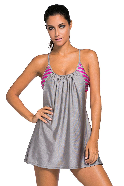 Grey Flowing Swim Dress Layered 1pc Tankini Top as shown (US 22-24)XXXL by Bonita Sound (Image #1)