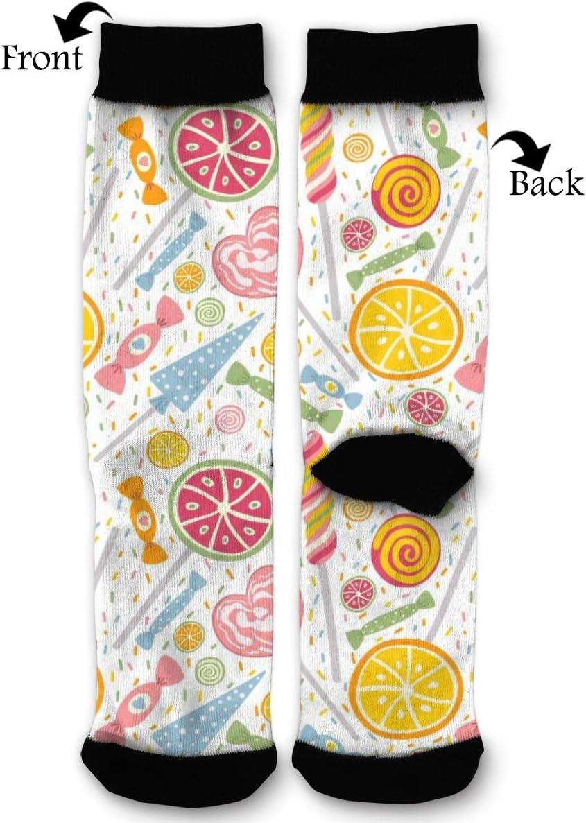 BLongTai Knee High Compression Socks Sweet Candy Lollipop Pattern for Women and Men Sport Crew Tube Socks