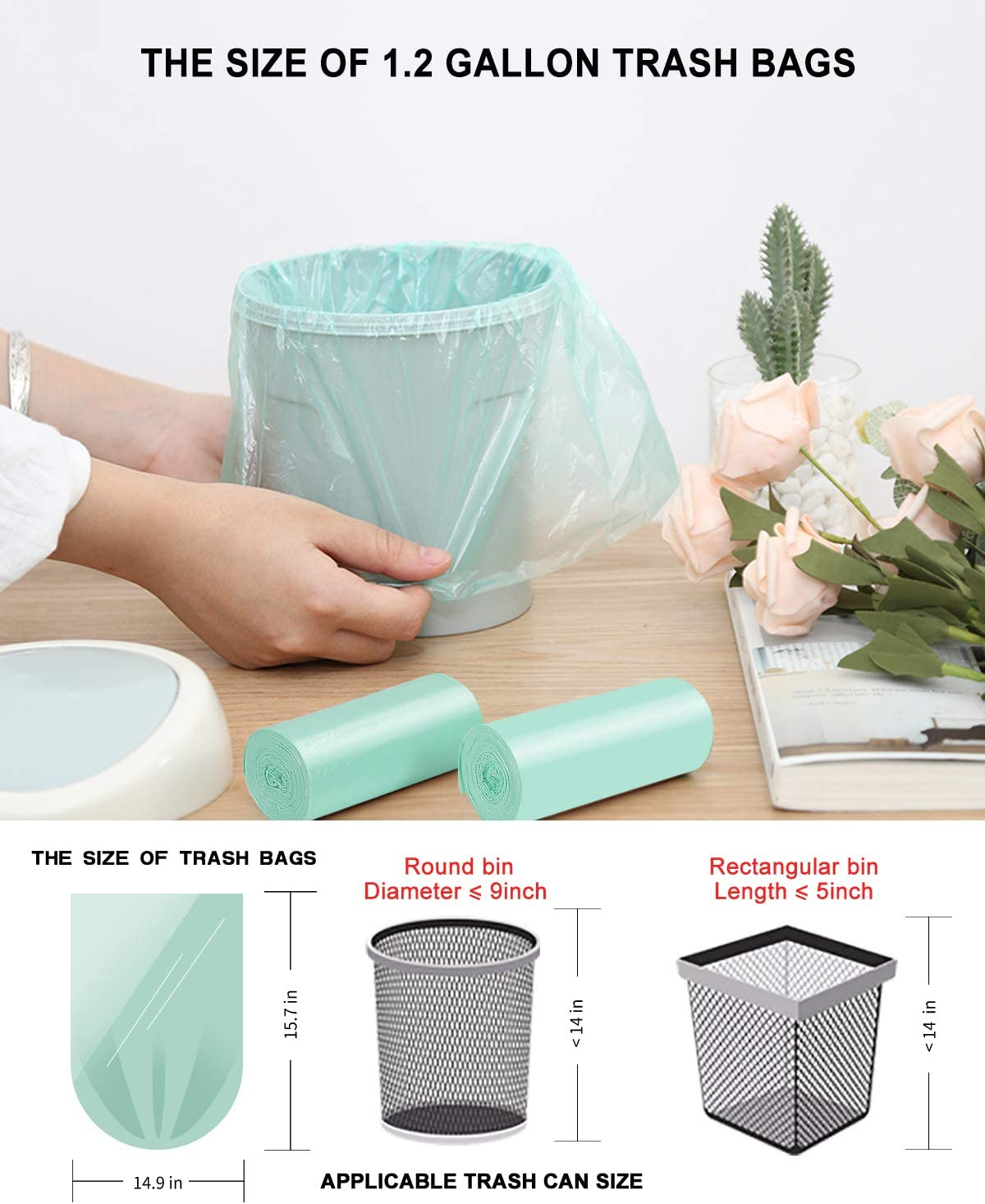 Lawn,Bathroom Fit 5 Liter 5L,1 Gal,120 Count,Clear 1.2Gallon Small Bathroom Trash Can Bin Liners Bags Biodegradable Trash Bags for Home Office