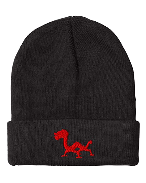 72e78cdbd72bd Chinese Dragon Embroidered Unisex Adult Acrylic Beanie Winter Hat - Black