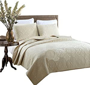 Brandream Beige Vintage Medallion Comforter Set Queen Size Bed Quilt Set Farmhouse Quilt Bedding Set Cotton