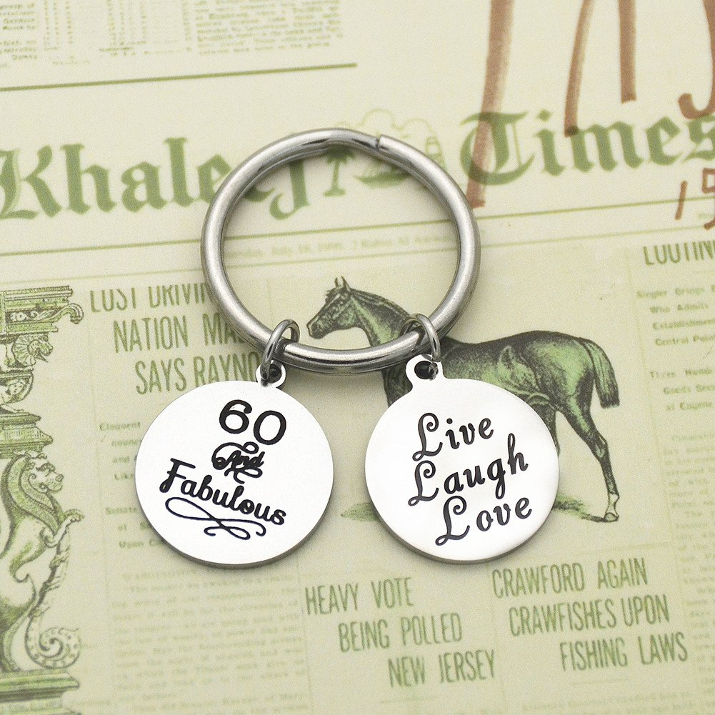 ODLADM Happy Birthday Gift 30th 40th 50th 60th Charms Key Ring for Key Holder Stainless Steel Key Chain 3cm (60th) by ODLADM (Image #2)