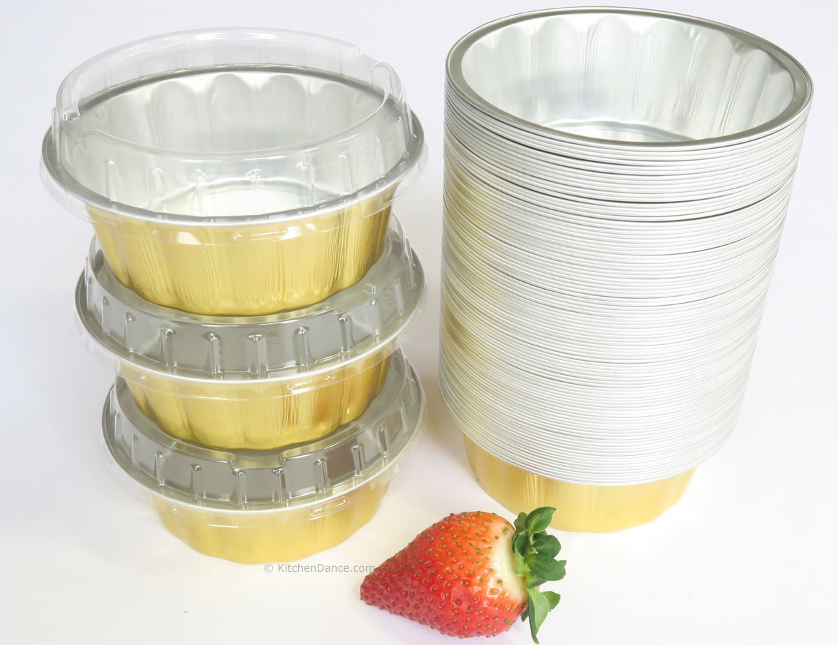 KitchenDance Disposable Aluminum 8 oz. Individual Cake cups/Dessert pans. #A8P (With Lids, Gold, 500)