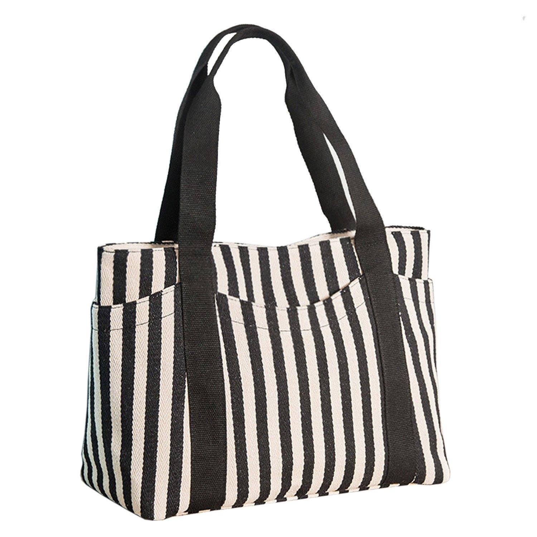 Amazon.com  Lavogel Women s Tote Bag Striped Canvas Shoulder Bags Top  Handle Beach Handbag (Black)  Shoes 4179efc388