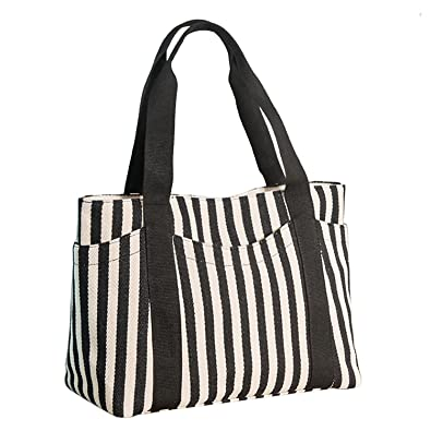cbc6bfcc5 Lavogel Women's Tote Bag Striped Canvas Shoulder Bags Top Handle Beach  Handbag (Black)