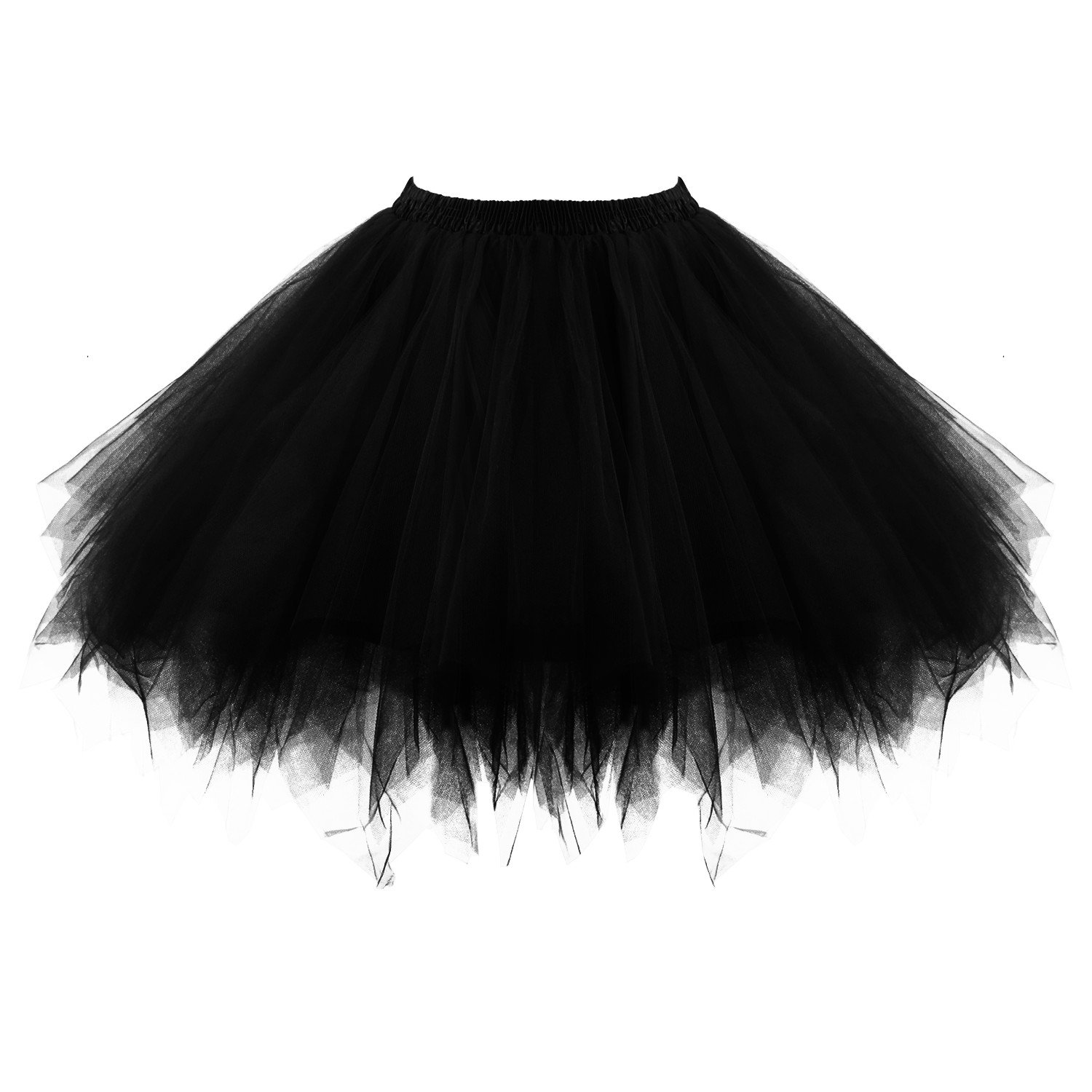 Acecharming Girl's Ballet Tutu Skirts Tulle Bubble Classic Prom Ball Layered Underskirt(Black