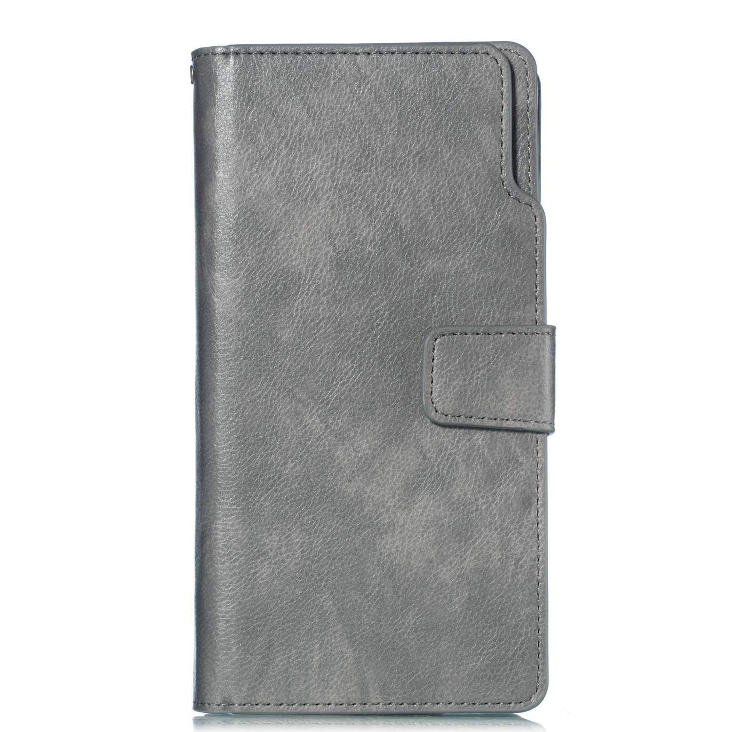UNEXTATI Galaxy Note 8 Wallet Case, Leather Folding Flip Case with 9 Card Holder, Classic Design Protective Cover Bumper Case for Samsung Galaxy Note 8 (Grey #5)