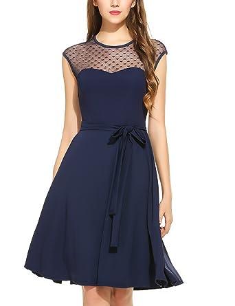 Zeagoo Elegant Damen Kleider Kurzarm Retro Vintage 50er Jahr Sewing  Rockabilly Kleid Cocktailkleid Abendkleid Ballkleid  Amazon.de  Bekleidung 4a043c76f3