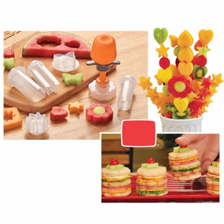 Creative Kitchen Pop Tools Plastic Vegetable Fruit Shape Cutter Slicer Veggie Food Chef Snack Maker Cake Decorator Festival Game