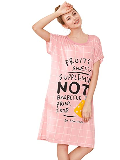 SheIn Women s Flamingo Print Nightgown Summer Stripe Nightdress  Pink c8bbb8d84