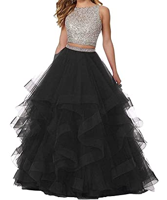 Yiweir Womens Asymmetric Two Piece Prom Dresses 2018 Long Tulle Beaded Formal Evening Gowns Size 0