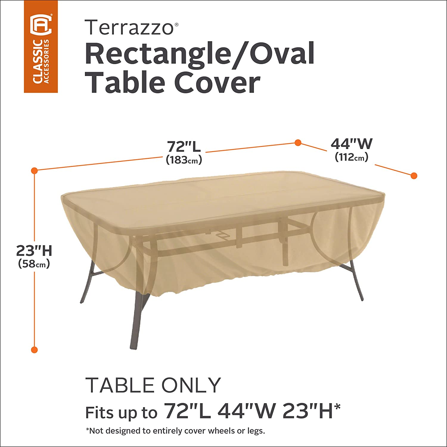 Awesome Amazon.com : Classic Accessories Terrazzo Rectangular/Oval Patio Table Cover    All Weather Protection Outdoor Furniture Cover (58242 EC) : Outdoor Table  ... Part 13