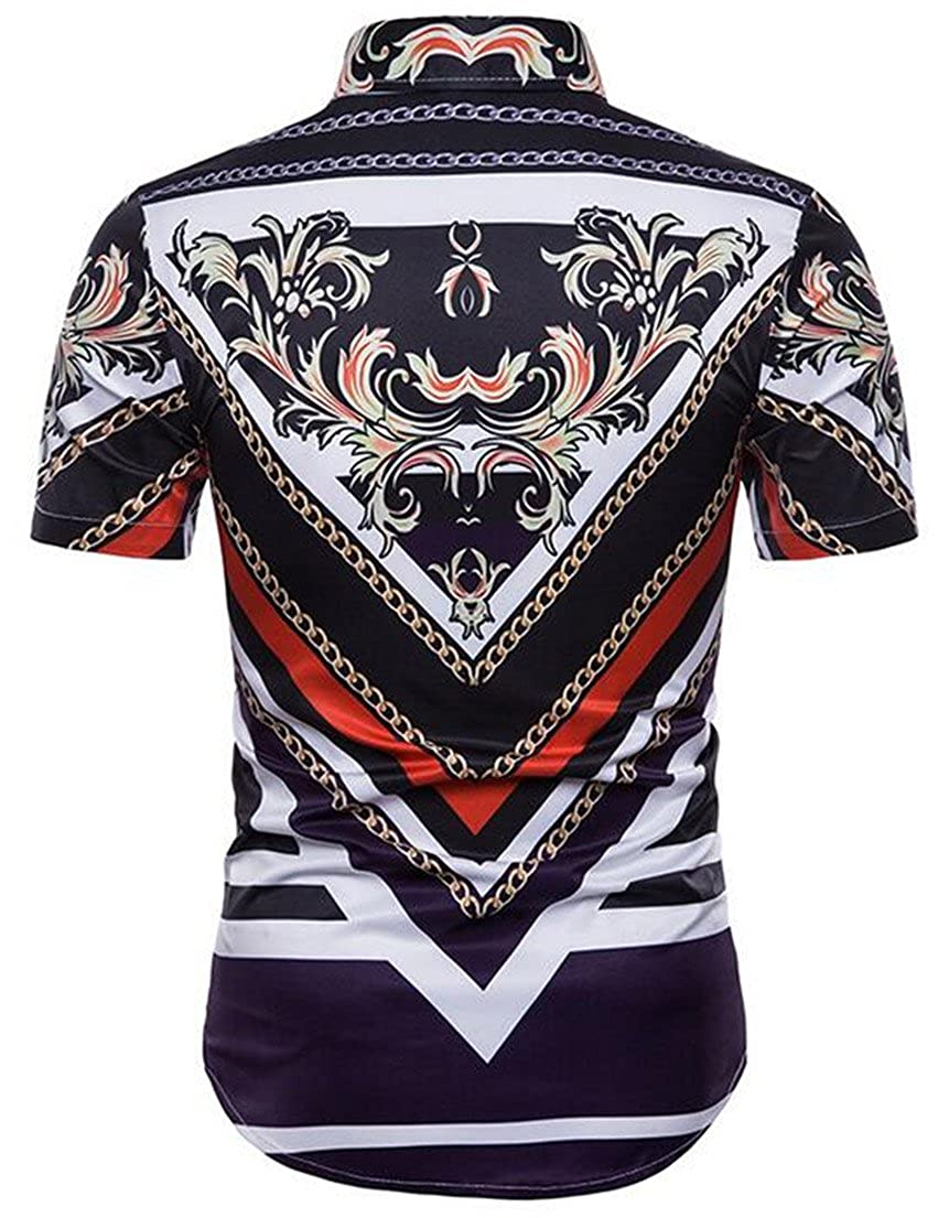 Sweatwater Mens Stylish Print Short Sleeve Pattern Casual Button Down Shirts