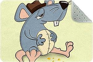 LORVIES Doormat Custom Indoor Welcome Door Mat, Cute Animal Mouse Rat Home Decorative Entry Rug Garden/Kitchen/Bedroom Mat Non-Slip Rubber 24x16 Inch