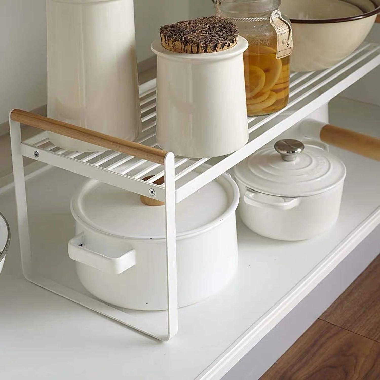 Kitchen Counter Organizer, Cabinet Cupboard Spice Rack, Pantry Storage  Bathroom Countertop Shelf   White