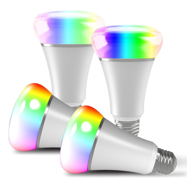 aitechhomeスマートlight- multicolor- Works with Amazon Alexaおよびその他のアシスタント調光機能付きマルチカラーディスコライト – Wake Upライト& Sleepingナイトライトスマートフォンcontrolled- noハブ必要な 2 Packs B07CP81C3G 17768 2 Packs  2 Packs