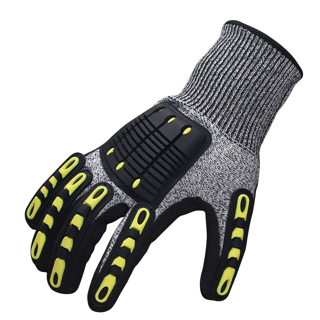 Impact Reducing Safety Gloves, Vibration & Abrasion & Cut Resistant, Ideal for Heavy Duty Safety Work like Mechanic, Garden Construction, Car Repairing Industrial, 1 Pair by KARRISM 1