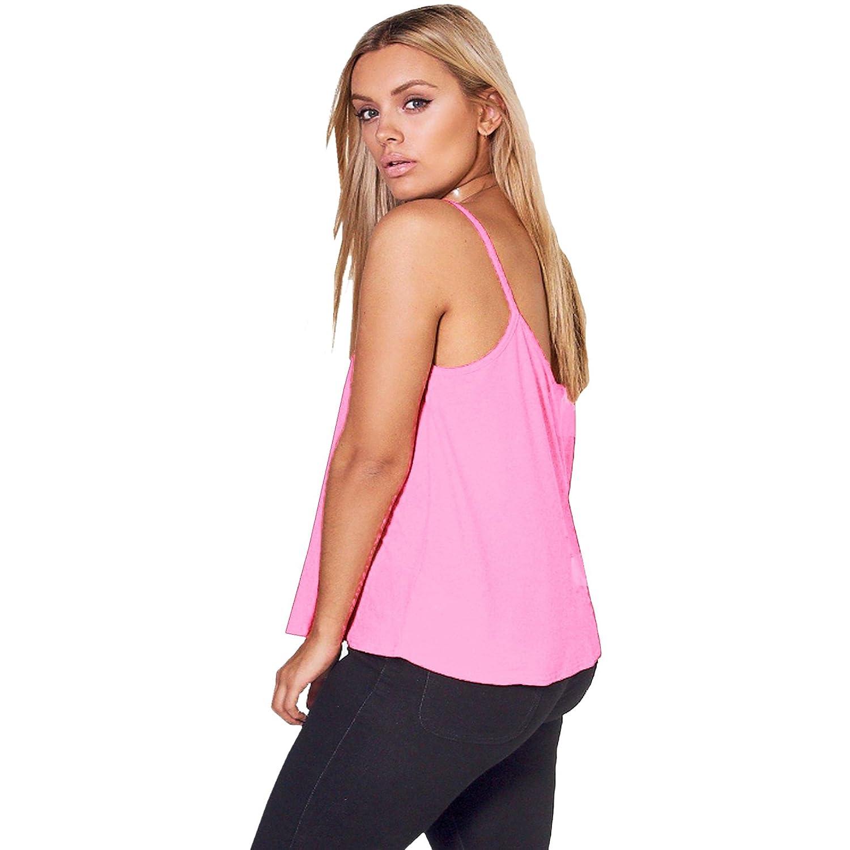 0cc9629820027 SA Fashions Elegant New Sexy Ladies Plain Strappy Cami Swing Vest  Sleeveless Flared Loose Top UK 8-22  Amazon.co.uk  Clothing