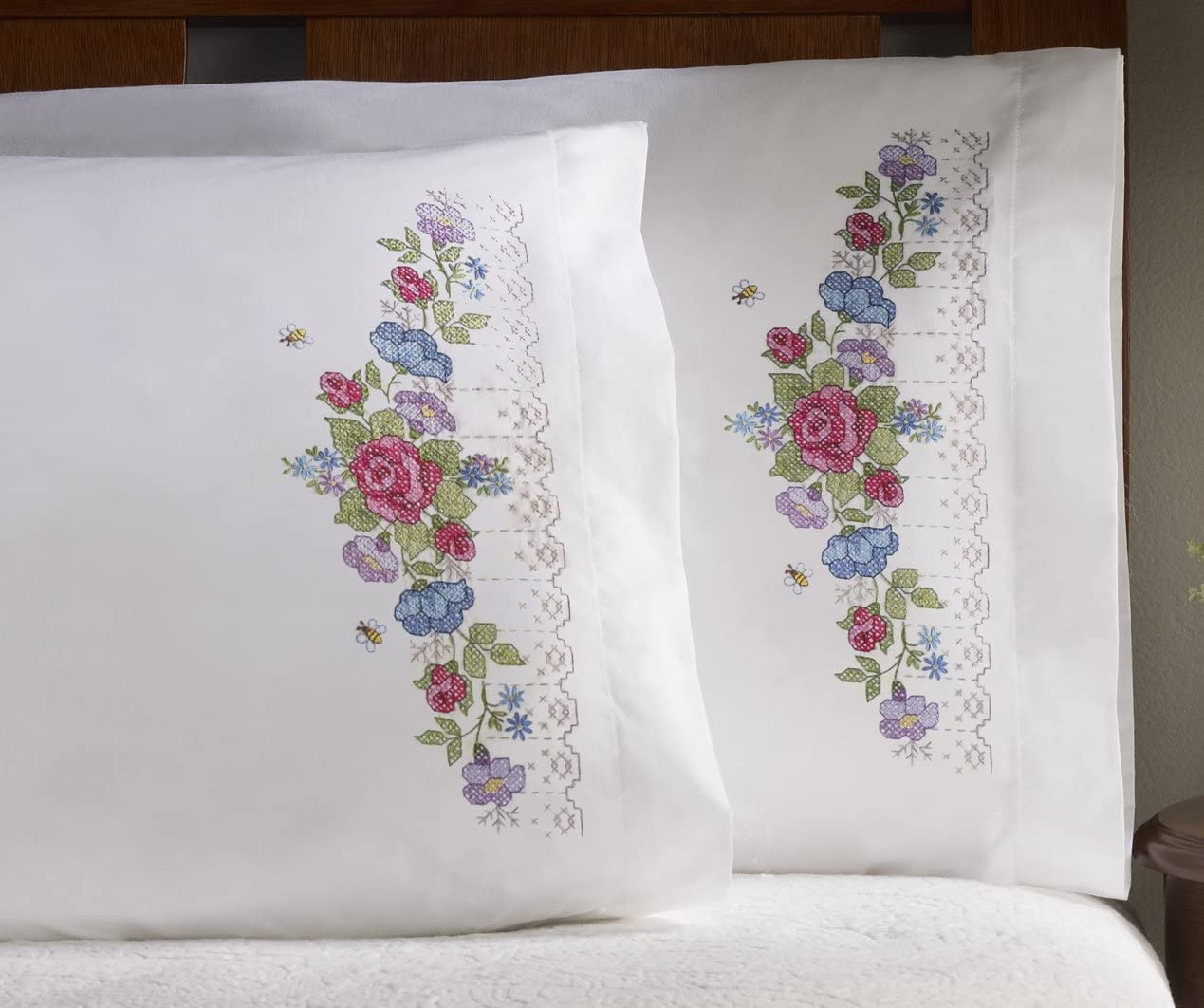 "Bucilla Stamped Pillow Cases TALL FLOWERS  for Embroidery 20/"" x 30/"" 1 Pair"