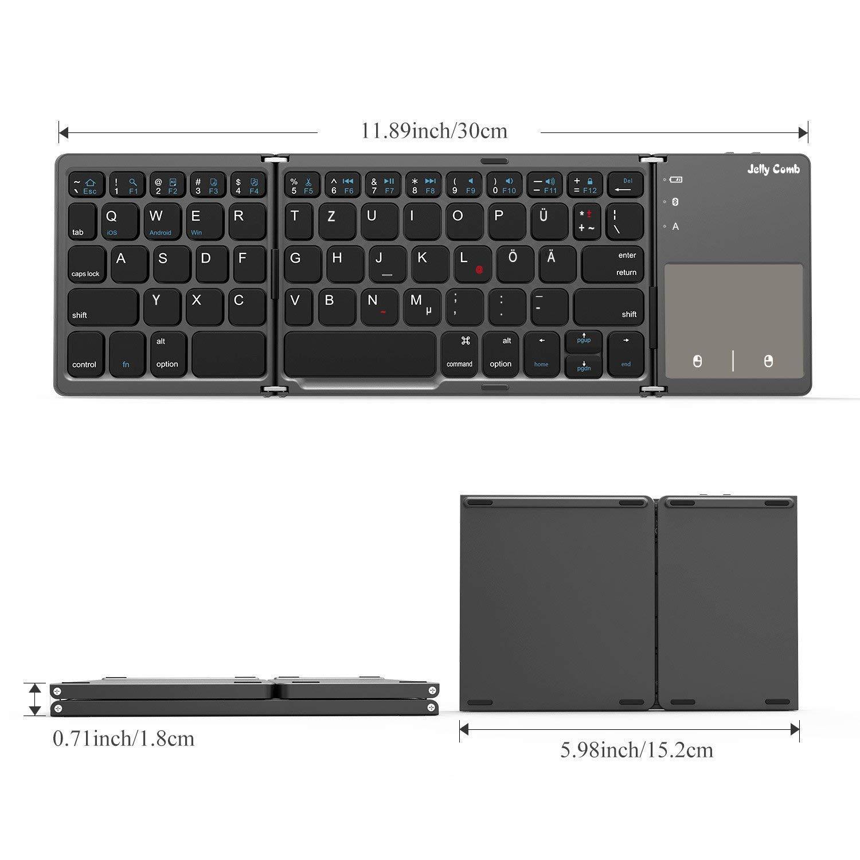 Laptop Smart TV Android Tablets QWERTZ Deutsches Layout Computer Grau Jelly Comb Bluetooth Tastatur Kabellos//mit Kabel iPad Dual Modus Faltbare Funktastatur mit Touchpad f/ür PC