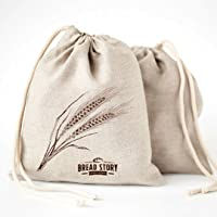 (30 x 40 cm) Natural Linen Bread Bags - 2-Pack Ideal for Homemade Bread, Unbleached, Reusable Food Storage, Housewarming, Wedding Gift, Storage for Artisan Bread - Bakery & Baguette