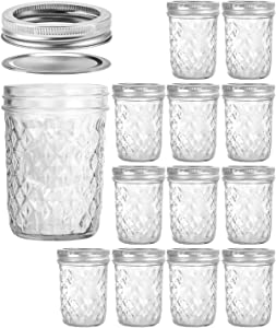 Wide Mouth Mason Jars 16 oz, VERONES 16 OZ Mason Jars Canning Jars Jelly Jars With Wide Mouth Lids, Ideal for Jam, Honey, Wedding Favors, Shower Favors, Baby Foods, 12 PACK
