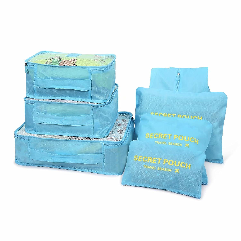 Kleidertaschen Set 7-teilig Reisetasche Wasserdicht Packing Cube Verpackungswürfel organizer Wäschesack Gepäck Kompressionstaschen Tasche in Tasche Taschenorganizer für Kleidung Grau iDreameme