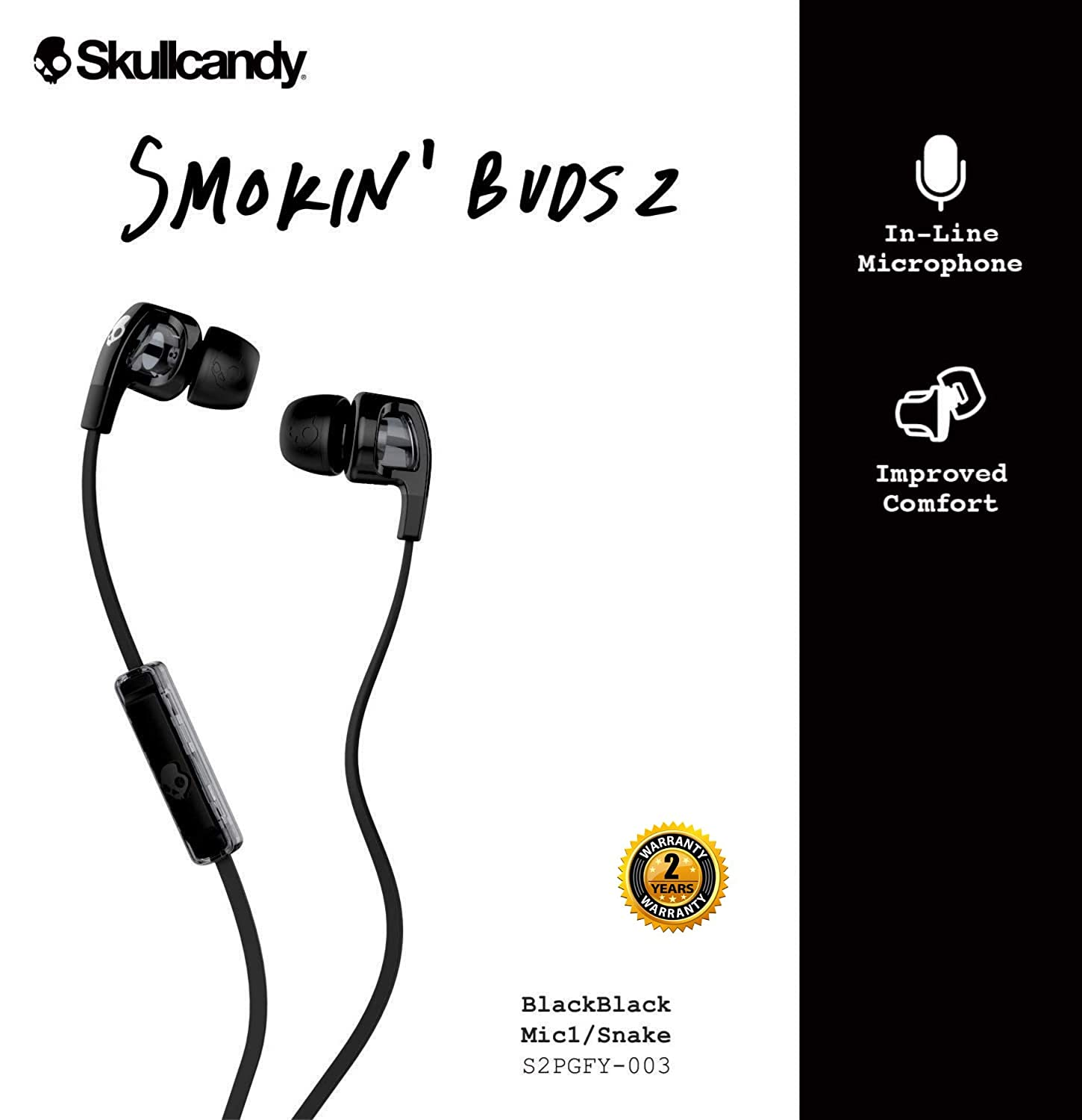 Oval-Shaped and Angled for Long-Term Comfort Iridium//Black Skullcandy S2PGGY-392 Smokin Buds 2 Noise Isolating Earbuds with In-Line Microphone and Remote Moisture Resistant