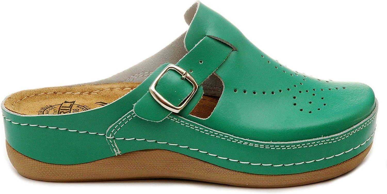 BRIL Dr Punto Rosso D145 Sabots Mules Chaussons Chaussures en Cuir Femme Dames
