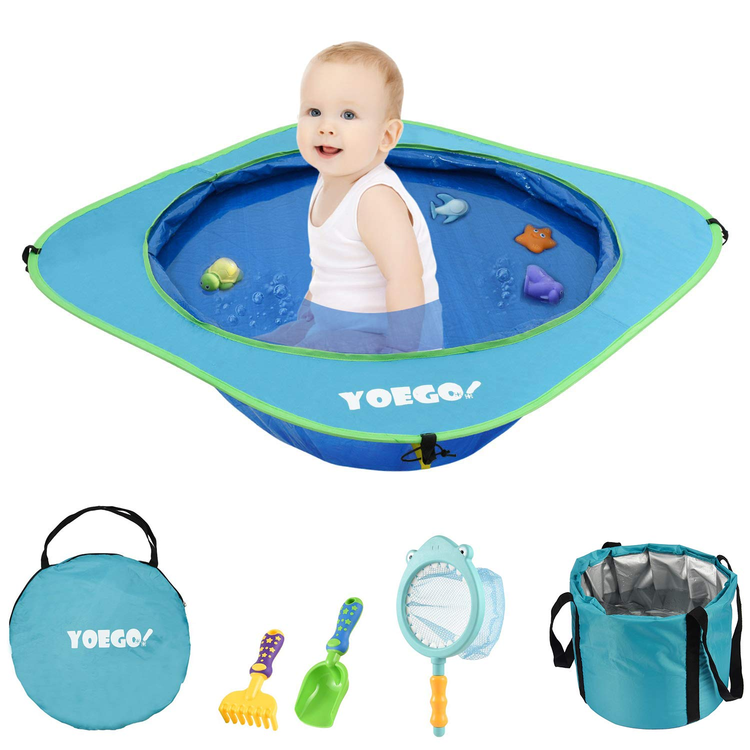 Yoego Kiddie Pool, Portable Baby Beach Swimming Pool, Toddler Pool with Baby Sand Toys Including Fish Net and Toy Fishes, Sand Shovel and Rake, Perfect for Babies Toddlers On The Beach and Indoors by Yoego