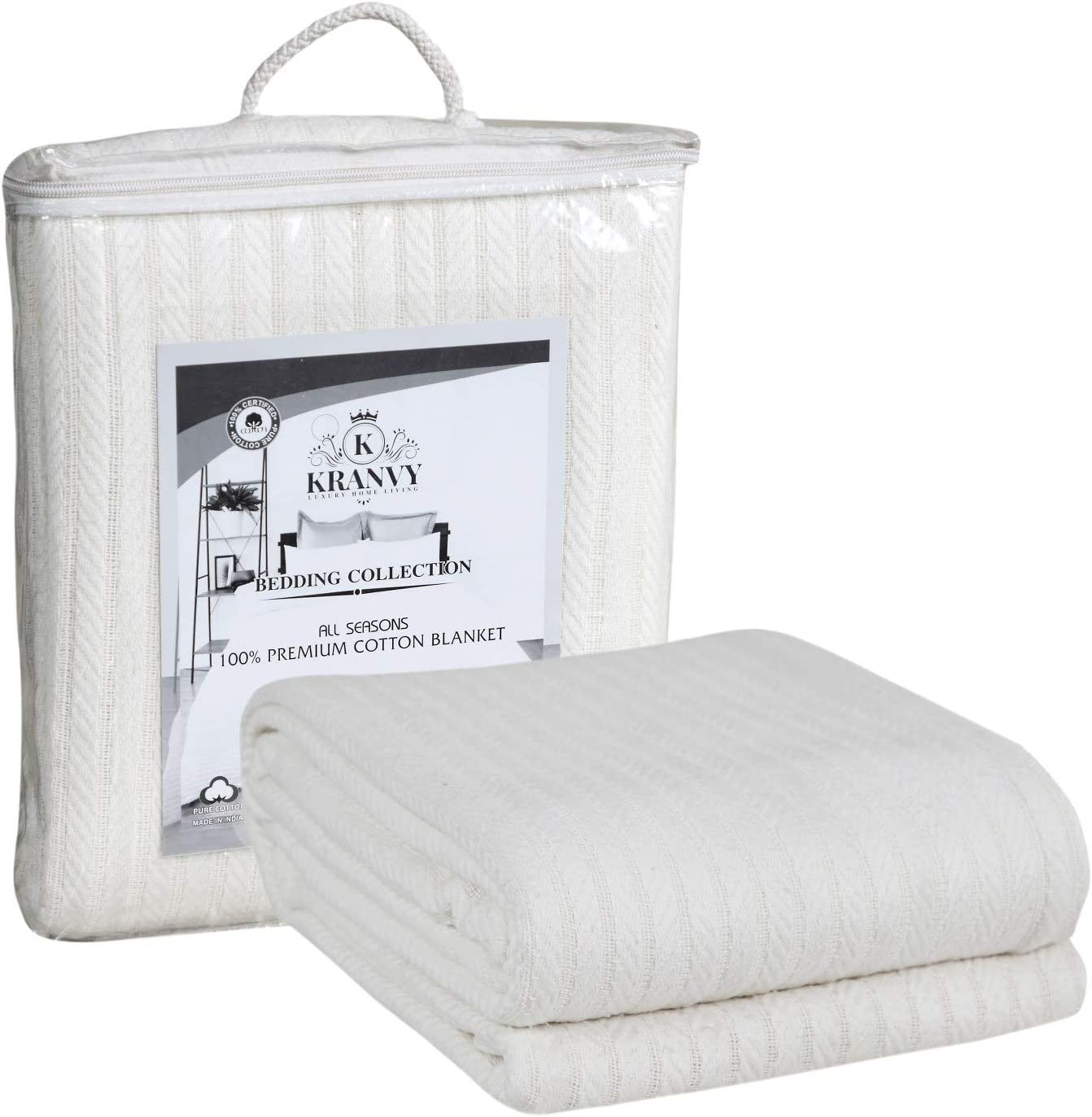 Kranvy Home 100% Soft Premium Cotton Thermal Blanket/Throw Lightweight and Breathable Loom Weave - Perfect for Layering Any Bed for All-Season - Ivory -Twin Size (66 x 90 Inch)