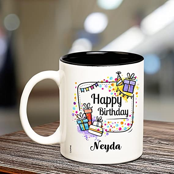 Buy Huppme Happy Birthday Neyda Inner Black Ceramic Coffee Mug 350 Ml 1 Piece Multi Color Online At Low Prices In India Amazon In
