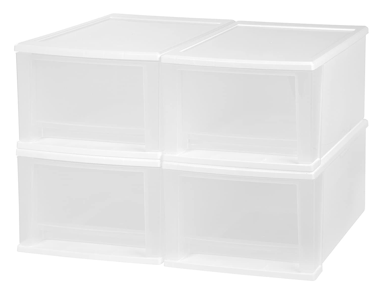 IRIS 17 Quart Stacking Drawer, 4 Pack, White