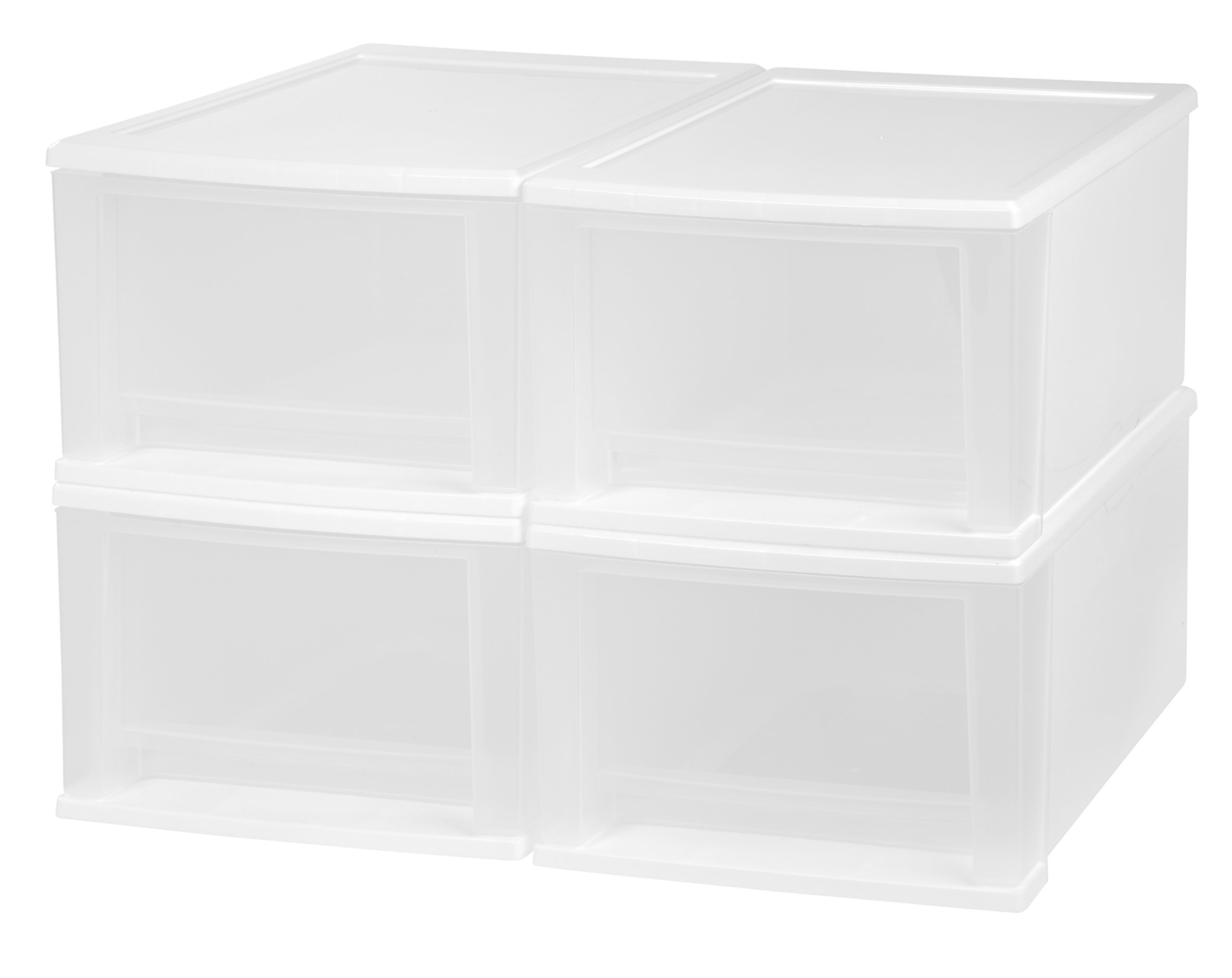 IRIS 17 Quart Stacking Drawer, 4 Pack, White by IRIS USA, Inc.