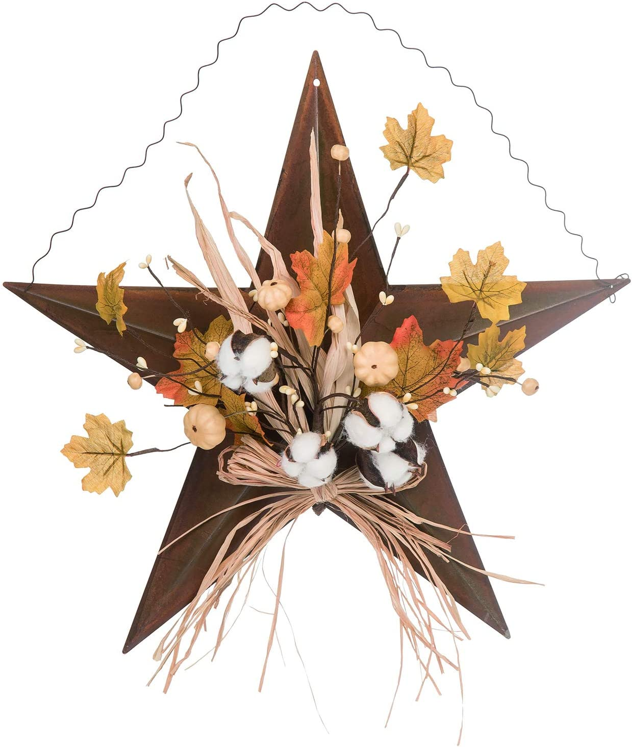 Orchid & Ivy 18-Inch Rustic Metal Harvest Star Wreath – Hanging Fall Door Decoration (Leaves)