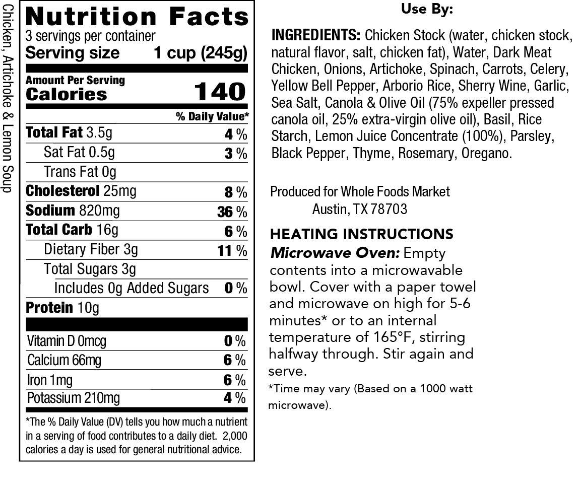 Whole Foods Market, Chicken, Artichoke & Lemon Soup, 24 oz: Amazon ...