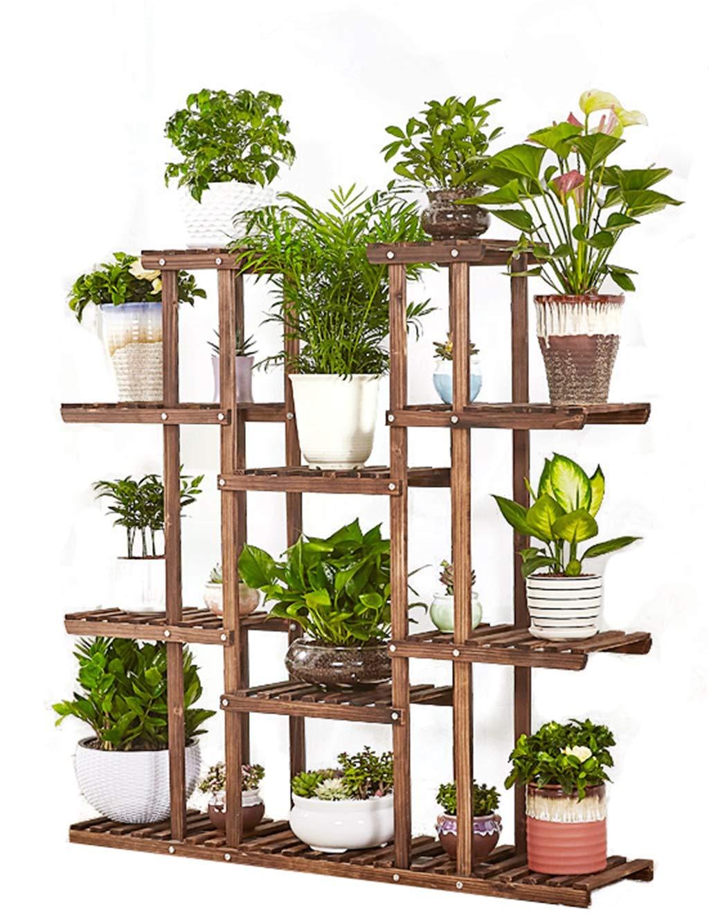 ZB フラワースタンド無垢材植物フレームリビングルームバルコニー多階フロア盆栽棚収納容量 A+ B07QN8Y29M