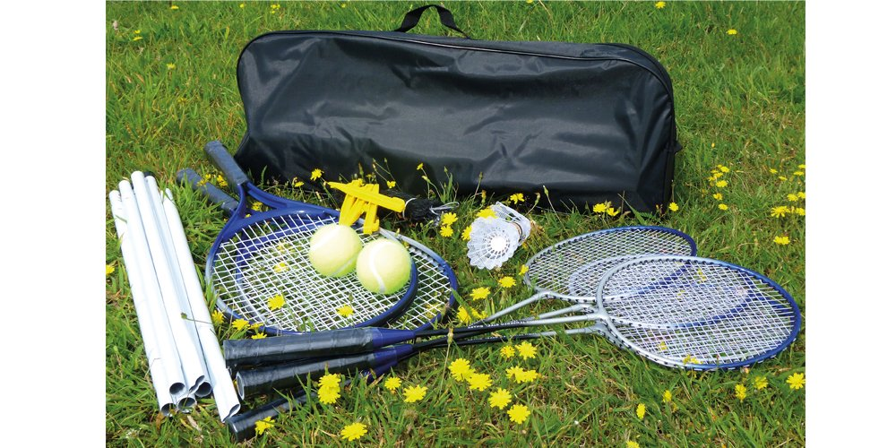 Mightymast Leisure Badminton / Tennis Combo Garden Game Set With Net, Racquets, Shuttlecocks & Balls & Smart Black Canvas Carry Case Mighty Mast Leisure