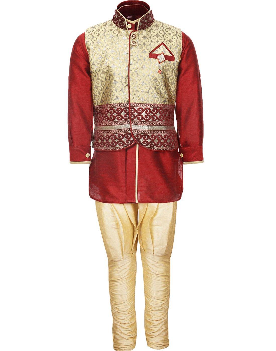 AJ Dezines Kids Indian Wear Bollywood Style Kurta Pyjama Waistcoat for Baby Boys 636-BABY-$P