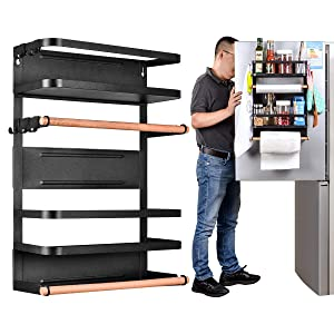 Kitchen Rack - Magnetic Fridge Organizer - 17.7x12.7x5 INCH With 22LBS/10KG Weight Capacity - Paper Towel Holder, Rustproof Spice Jars Rack, Heavy-duty Refrigerator Shelf Storage Including 5 Hooks