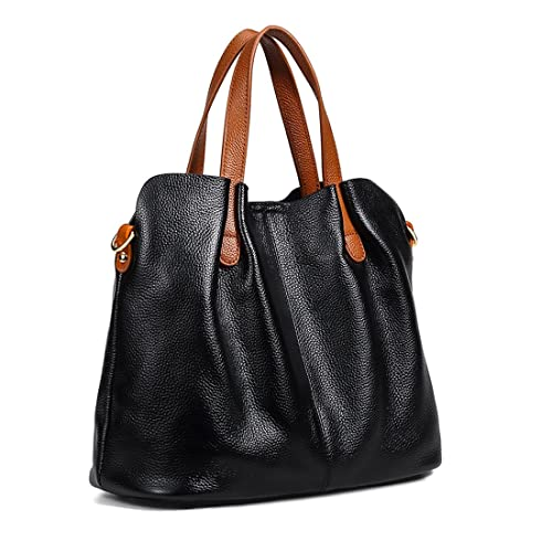 3a4ef65501cbe Mynos Women Fashion Genuine Leather Handbag, Long Strap Shoulder Crossbody  Bag with Removable Sub-