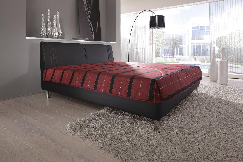 Modern Living -( KT2 ) Polsterbett. Es steht bodenfrei auf ca. 10 cm hohen Chromfüßen. Mit Bettkasten. Ausführung B: Lose aufliegende 7-Zonen-Kaltschaummatratze(Härtegrad 2). Größe: 200x200 cm