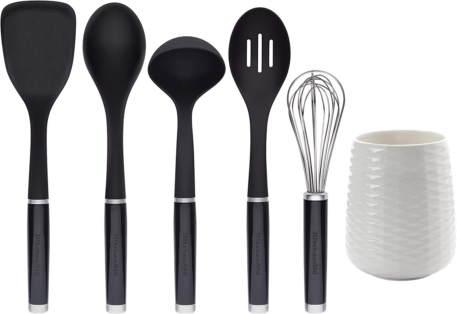 Kitchenaid KQ562BXOBA Tool and Gadget Set with Crock, 6-Piece, Black