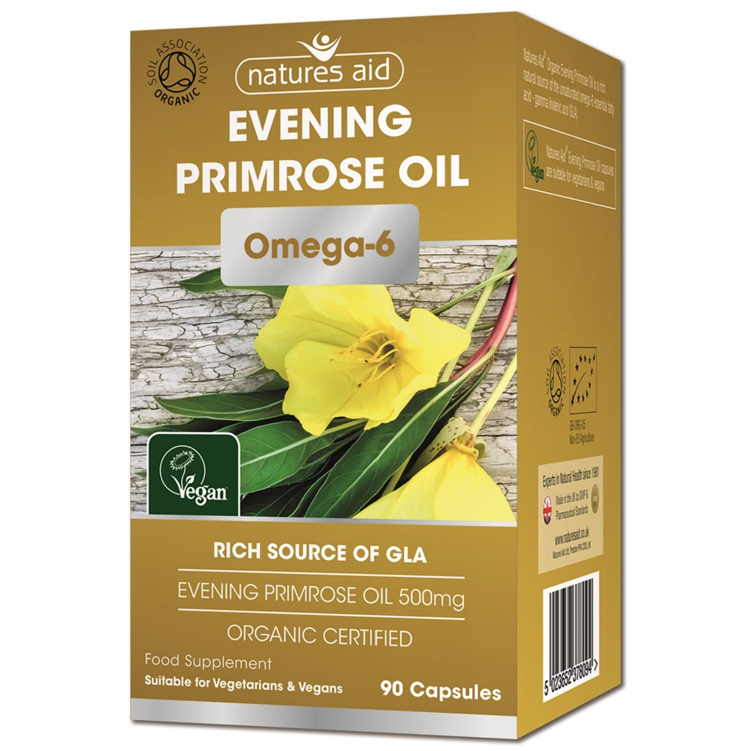 Natures Aid Organic Evening Primrose Oil Capsules - Pack of 90