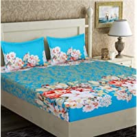 Weaves & looms Heart Print Ultra Soft Glace Cotton Double Bed Bedding Set with 2 Pillow Covers (Sky Blue)