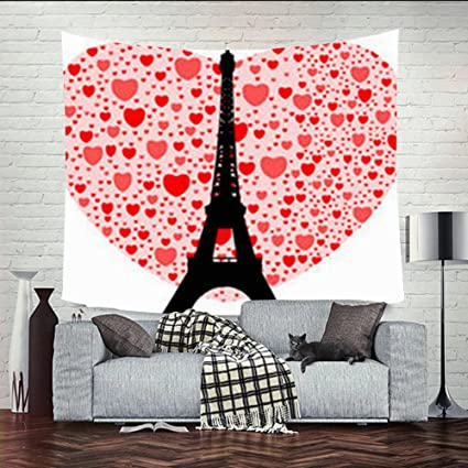 Amazon Com Wall Tapestries 80x60 Inches Eiffel Tower Happy