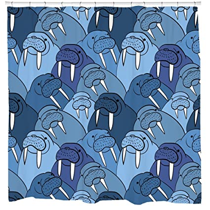 Walrus Decor, Walrus Shower Curtain, Nautical Bathroom Decor, Animal  Pattern, Kids Shower