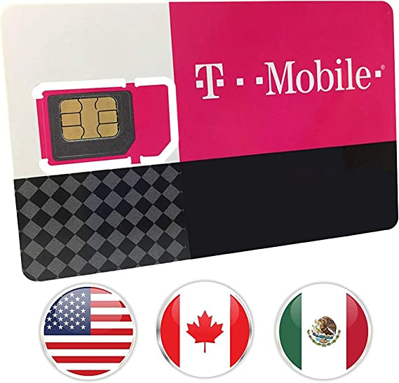 Canada, Mexico and USA Prepaid SIM Card T-Mobile 10GB 4G LTE Data in USA and 5GB Data in Canada and Mexico with Unlimited Talk and Text among and ...